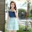 ชุดเดรสสั้นแฟชั่นเกาหลี สีฟ้า เสื้อแต่งเป็นผ้ายีนส์เย็บต่อด้วยกระโปรงผ้าแก้ว เป็นชุดเดรสแนวหวานน่ารัก สวย เรียบร้อย ดูดี ( S M L XL ) thumbnail 6