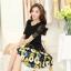ชุดเดรสสั้นลายดอกไม้ เสื้อผ้าลูกไม้สีดำ เย็บต่อด้วยกระโปรงสั้นลายดอกไม้สีเหลือง เป็นชุดเดรสแฟชั่นน่ารักๆ สไตล์เกาหลี ( S,M,L,XL,) thumbnail 3