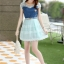 ชุดเดรสสั้นแฟชั่นเกาหลี สีฟ้า เสื้อแต่งเป็นผ้ายีนส์เย็บต่อด้วยกระโปรงผ้าแก้ว เป็นชุดเดรสแนวหวานน่ารัก สวย เรียบร้อย ดูดี ( S M L XL ) thumbnail 8