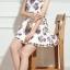 ชุดเดรสสั้นสีขาวลายดอกไม้สวยหรู คอประดับคริสตรัส แขนกุด สไตล์เกาหลี ไซส์ XL thumbnail 7