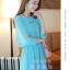 ชุดเดรสสั้นแฟชั่นเกาหลี สีฟ้า ผ้าชีฟอง คอกลม เอวยืด แขนสามส่วนเก๋ๆ เป็นชุดเดรสสวยหวาน น่ารัก ดูเรียบร้อย ,ชุดไปงานศพสวยๆ ( M L) thumbnail 2