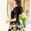 ชุดเดรสสั้นลายดอกไม้ เสื้อผ้าลูกไม้สีดำ เย็บต่อด้วยกระโปรงสั้นลายดอกไม้สีเหลือง เป็นชุดเดรสแฟชั่นน่ารักๆ สไตล์เกาหลี ( S,M,L,XL,) thumbnail 6