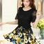 ชุดเดรสสั้นลายดอกไม้ เสื้อผ้าลูกไม้สีดำ เย็บต่อด้วยกระโปรงสั้นลายดอกไม้สีเหลือง เป็นชุดเดรสแฟชั่นน่ารักๆ สไตล์เกาหลี ( S,M,L,XL,) thumbnail 7