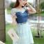 ชุดเดรสสั้นแฟชั่นเกาหลี สีฟ้า เสื้อแต่งเป็นผ้ายีนส์เย็บต่อด้วยกระโปรงผ้าแก้ว เป็นชุดเดรสแนวหวานน่ารัก สวย เรียบร้อย ดูดี ( S M L XL ) thumbnail 2