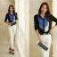เสื้อเชิ้ตทำงานสีน้ำเงิน แขนยาว คอปก กระดุมหน้า หน้าอกพิมพ์ลายสีสัน สวยเก๋ thumbnail 6