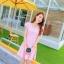 ชุดเดรสทำงานสีชมพูแนวหวานน่ารักๆ สีชมพูลายจุด แขนสั้น กระโปรงบาน thumbnail 5