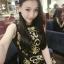 ชุดเดรสสั้นสีดำ ปักลายสวยเก๋สีทอง ทรงตรงเข้ารูป แขนกุด สวยดูดีสไตล์เกาหลี thumbnail 6