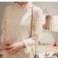 ชุดเดรสสั้นลูกไม้สีขาว ทรงตรงเข้ารูป แขนยาว ลุคสาวหวานเรียบร้อย สวยหรู ไม่ตกเทรนด์ thumbnail 3