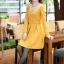 ชุดเดรสทำงานสวยๆ สีเหลือง คอปกปักเลื่อมเก๋ๆ แขนยาว ซิปหลัง กระโปรงทรงสวิง ผ้าโพลีเอสเตอร์ thumbnail 4