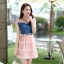 ชุดเดรสสั้นแฟชั่นเกาหลี สีชมพู เสื้อแต่งเป็นผ้ายีนส์เย็บต่อด้วยกระโปรงผ้าแก้ว เป็นชุดเดรสแนวหวานน่ารัก สวย เรียบร้อย ดูดี ( S M L XL ) thumbnail 3