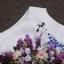 ชุดเดรสทำงานแฟชั่นสไตล์เกาหลีสวยๆ ชุดแซกกระโปรงใส่ทำงาน สีขาว พิมพ์ลายดอกไม้สัีน้ำเงิน ผ้าคอลตอลอัดลายดอกไม้ ซิปหลัง , thumbnail 7