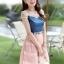 ชุดเดรสสั้นแฟชั่นเกาหลี สีชมพู เสื้อแต่งเป็นผ้ายีนส์เย็บต่อด้วยกระโปรงผ้าแก้ว เป็นชุดเดรสแนวหวานน่ารัก สวย เรียบร้อย ดูดี ( S M L XL ) thumbnail 2
