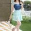 ชุดเดรสสั้นแฟชั่นเกาหลี สีฟ้า เสื้อแต่งเป็นผ้ายีนส์เย็บต่อด้วยกระโปรงผ้าแก้ว เป็นชุดเดรสแนวหวานน่ารัก สวย เรียบร้อย ดูดี ( S M L XL ) thumbnail 7