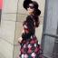 ชุดเดรสทำงานสีแดงพิมพ์ลายตุ๊กตาผู้หญิง แขนยาว คอกลม เอวเข้ารูป สวยหวาน thumbnail 2
