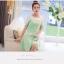 ชุดเดรสสั้นสีเขียว แขนสั้น คอกลม เอวเข้ารูป กระโปรงบาน ช่วงคอเย็บผ้าสีขาว สวยเก๋ thumbnail 2
