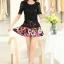 ชุดเดรสสั้นลายดอกไม้ เสื้อผ้าลูกไม้สีดำ เย็บต่อด้วยกระโปรงสั้นลายดอกไม้สีชมพู เป็นชุดเดรสแฟชั่นน่ารักๆ สไตล์เกาหลี ( S,M,L,XL,) thumbnail 8