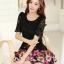 ชุดเดรสสั้นลายดอกไม้ เสื้อผ้าลูกไม้สีดำ เย็บต่อด้วยกระโปรงสั้นลายดอกไม้สีชมพู เป็นชุดเดรสแฟชั่นน่ารักๆ สไตล์เกาหลี ( S,M,L,XL,) thumbnail 2