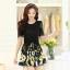 ชุดเดรสสั้นลายดอกไม้ เสื้อผ้าลูกไม้สีดำ เย็บต่อด้วยกระโปรงสั้นลายดอกไม้สีเหลือง เป็นชุดเดรสแฟชั่นน่ารักๆ สไตล์เกาหลี ( S,M,L,XL,) thumbnail 9