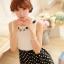 ชุดเดรสแฟชั่นเกาหลี ชุดเดรสแฟชั่นน่ารัก ชุดเดรสสั้น ชุดเดรสสวย ๆ เสื้อคอกลม แขนกุด สีขาว ต่อด้วย กระโปรงสีดำลายจุด ( S,M,L ) thumbnail 5