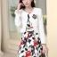 ชุดเดรสทำงานเกาหลี เดรสสั้นพิมพืลายดอกไม้สีแดงดำ มาคู่กับเสื้อสูทตัวสั้นสีขาว เนื้อผ้าดี ทำให้คุณสาวๆ ดูสวยง่า ( M L XL XXL ) thumbnail 2