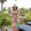 ชุดเดรสยาวใส่ไปเที่ยวทะเลสวยๆ โทนสีชมพู เขียว สายเดี่ยว เอวยืด ผ้าชีฟอง สวมใส่สบาย thumbnail 4