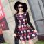 ชุดเดรสทำงานสีแดงพิมพ์ลายตุ๊กตาผู้หญิง แขนยาว คอกลม เอวเข้ารูป สวยหวาน thumbnail 7