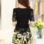 ชุดเดรสสั้นลายดอกไม้ เสื้อผ้าลูกไม้สีดำ เย็บต่อด้วยกระโปรงสั้นลายดอกไม้สีเหลือง เป็นชุดเดรสแฟชั่นน่ารักๆ สไตล์เกาหลี ( S,M,L,XL,) thumbnail 5