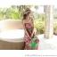 ชุดเดรสยาวใส่ไปเที่ยวทะเลสวยๆ โทนสีชมพู เขียว สายเดี่ยว เอวยืด ผ้าชีฟอง สวมใส่สบาย thumbnail 3