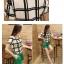 ชุดเดรสแฟชั่นเกาหลี ชุดเดรสแฟชั่นน่ารัก ชุดเชตเสื้อคอกลมแขนกุด ลายตาราง + กางเกงขาสั้น ( M, L, XL ) thumbnail 3