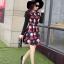ชุดเดรสทำงานสีแดงพิมพ์ลายตุ๊กตาผู้หญิง แขนยาว คอกลม เอวเข้ารูป สวยหวาน thumbnail 6