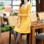 ชุดเดรสทำงานสวยๆ สีเหลือง คอปกปักเลื่อมเก๋ๆ แขนยาว ซิปหลัง กระโปรงทรงสวิง ผ้าโพลีเอสเตอร์ thumbnail 5