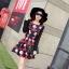 ชุดเดรสทำงานสีแดงพิมพ์ลายตุ๊กตาผู้หญิง แขนยาว คอกลม เอวเข้ารูป สวยหวาน thumbnail 4