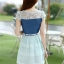 ชุดเดรสสั้นแฟชั่นเกาหลี สีฟ้า เสื้อแต่งเป็นผ้ายีนส์เย็บต่อด้วยกระโปรงผ้าแก้ว เป็นชุดเดรสแนวหวานน่ารัก สวย เรียบร้อย ดูดี ( S M L XL ) thumbnail 9