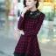ชุดทำงานแฟชั่นเกาหลี ชุดเดรสสั้นลายสก๊อตสีแดงดำ คอปก แขนยาว ปลายกระโปรงแต่งด้วยผ้าแก้ว ,S M L XL thumbnail 6