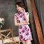 ชุดเดรสทำงาน ชุดแซกทำงานสวยๆสไตล์สาวหมวย ลายดอกไม้สีชมพู คอจีน เข้ารูป ผ้าโพลีเอสเตอร์ thumbnail 5