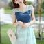 ชุดเดรสสั้นแฟชั่นเกาหลี สีฟ้า เสื้อแต่งเป็นผ้ายีนส์เย็บต่อด้วยกระโปรงผ้าแก้ว เป็นชุดเดรสแนวหวานน่ารัก สวย เรียบร้อย ดูดี ( S M L XL ) thumbnail 4