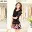 ชุดเดรสสั้นลายดอกไม้ เสื้อผ้าลูกไม้สีดำ เย็บต่อด้วยกระโปรงสั้นลายดอกไม้สีชมพู เป็นชุดเดรสแฟชั่นน่ารักๆ สไตล์เกาหลี ( S,M,L,XL,) thumbnail 7