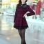 ชุดทำงานแฟชั่นเกาหลี ชุดเดรสสั้นลายสก๊อตสีแดงดำ คอปก แขนยาว ปลายกระโปรงแต่งด้วยผ้าแก้ว ,S M L XL thumbnail 8