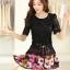 ชุดเดรสสั้นลายดอกไม้ เสื้อผ้าลูกไม้สีดำ เย็บต่อด้วยกระโปรงสั้นลายดอกไม้สีชมพู เป็นชุดเดรสแฟชั่นน่ารักๆ สไตล์เกาหลี ( S,M,L,XL,) thumbnail 6