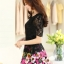 ชุดเดรสสั้นลายดอกไม้ เสื้อผ้าลูกไม้สีดำ เย็บต่อด้วยกระโปรงสั้นลายดอกไม้สีชมพู เป็นชุดเดรสแฟชั่นน่ารักๆ สไตล์เกาหลี ( S,M,L,XL,) thumbnail 5