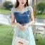 ชุดเดรสสั้นแฟชั่นเกาหลี สีฟ้า เสื้อแต่งเป็นผ้ายีนส์เย็บต่อด้วยกระโปรงผ้าแก้ว เป็นชุดเดรสแนวหวานน่ารัก สวย เรียบร้อย ดูดี ( S M L XL ) thumbnail 5