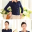 เสื้อเชิ้ตทำงานสีน้ำเงิน แขนยาว คอปก กระดุมหน้า ช่วงคอเย็บสีครีม thumbnail 2