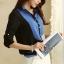 เสื้อเชิ้ตทำงานสีน้ำเงิน แขนยาว คอปก กระดุมหน้า หน้าอกพิมพ์ลายสีสัน สวยเก๋ thumbnail 2