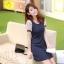ชุดเดรสสั้นแฟชั่นเกาหลี มินิเดรสน่ารัก ชุดเดรสทรงกระบอก สีกรมท่า เป็นชุดใส่เที่ยววันสบายๆ ดูหนัง ช้อปปิ้ง ให้ลุคน่ารักสดใส แอบหวานนิดๆ thumbnail 3