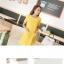 ชุดเดรสทำงานสีเหลือง แขนสั้น คอกลม ทรงหลวม กระเป๋าหน้า น่ารัก thumbnail 2