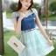 ชุดเดรสสั้นแฟชั่นเกาหลี สีฟ้า เสื้อแต่งเป็นผ้ายีนส์เย็บต่อด้วยกระโปรงผ้าแก้ว เป็นชุดเดรสแนวหวานน่ารัก สวย เรียบร้อย ดูดี ( S M L XL ) thumbnail 3