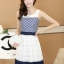 ชุดทำงานแฟชั่นเกาหลี มินิเดรสสวยๆ เดรสสั้นแขนกุด กระโปรงผ้าแก้ว สีกรมท่า ( S M L XL ) thumbnail 4