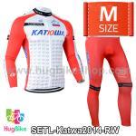 ชุดจักรยานแขนยาวทีม Katwa ปี 2014 สีแดงขาว Size M (Pre-order)