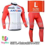 ชุดจักรยานแขนยาวทีม Katwa ปี 2014 สีแดงขาว Size L (Pre-order)