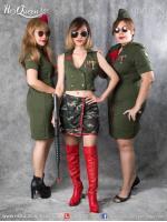 เช่าชุดแฟนซี &#x2665 ชุดแฟนซี ชุดทหาร เซ็ทสีเขียวขี้ม้าตัดแดง